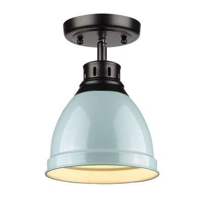 Duncan Collection 1-Light Black Flush Mount with Seafoam Shade