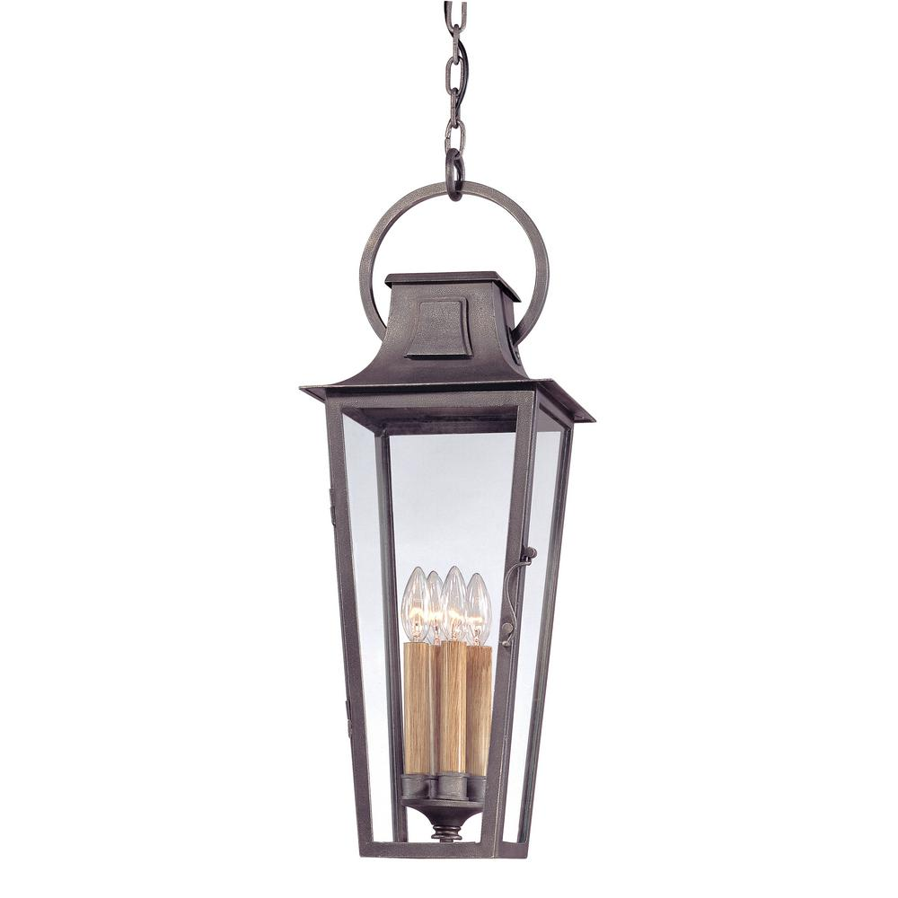 Troy Lighting French Quarter 4-Light Aged Pewter Outdoor Pendant