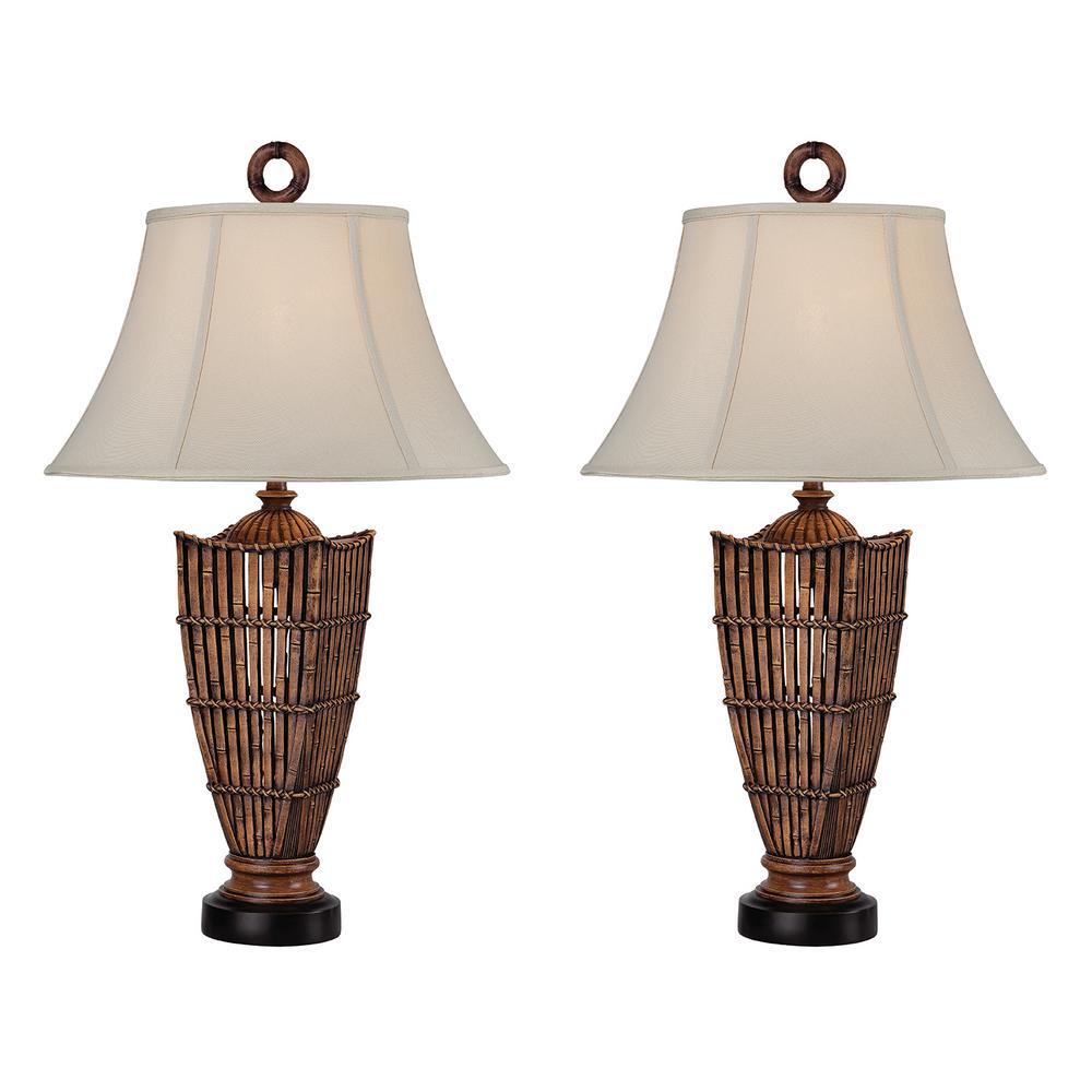 33 in. Antique Brown Indoor Table Lamp Set