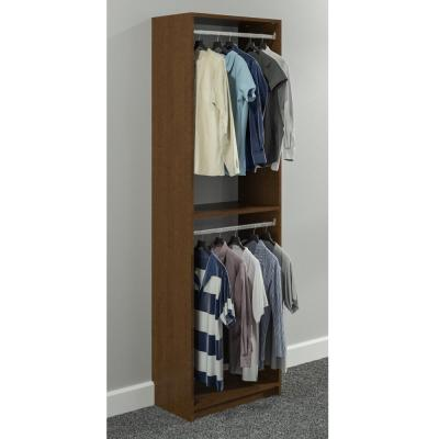 14 in. D x 25.375 in. W x 84 in. H Cognac Cherry Double Hanging Tower Wood Closet System Kit