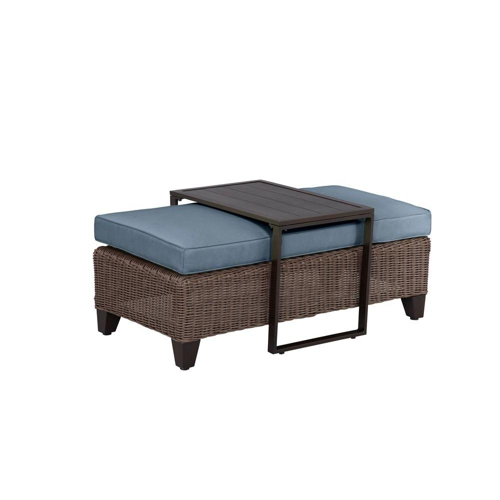 Beautiful Brown Jordan Vineyard Patio Ottoman/Coffee Table With Denim Cushion     CUSTOM