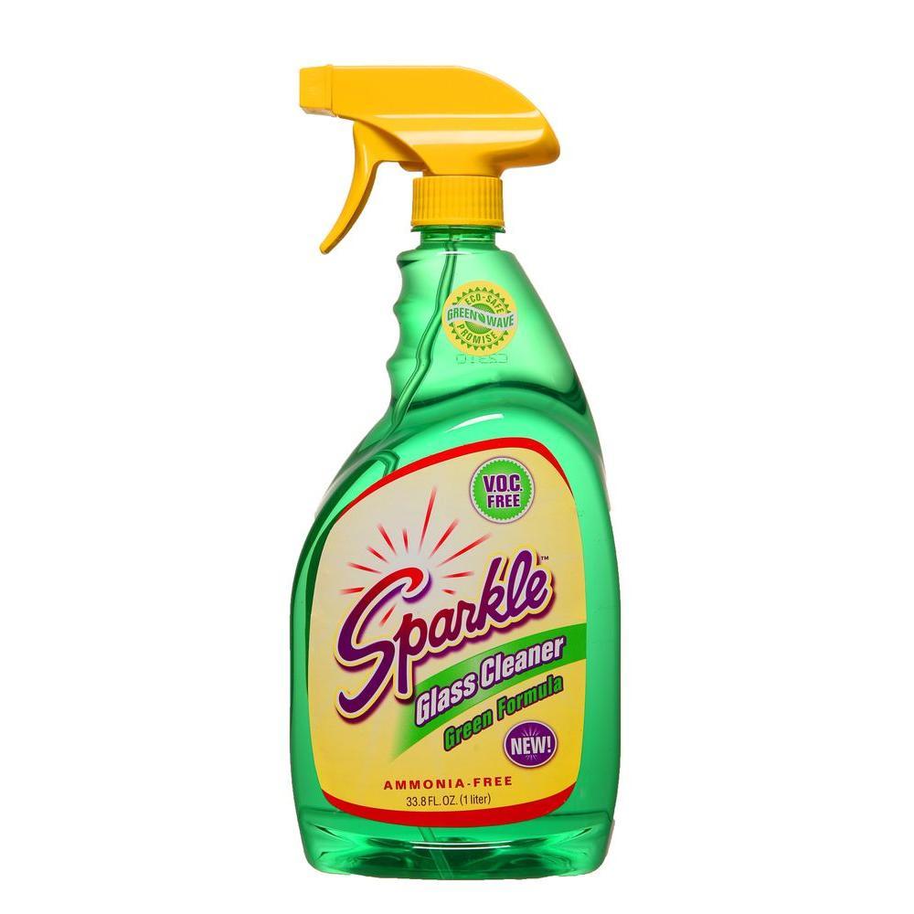 Sparkle 33.8 oz. Spray Bottle Green Formula V.O.C. Free Glass Cleaner