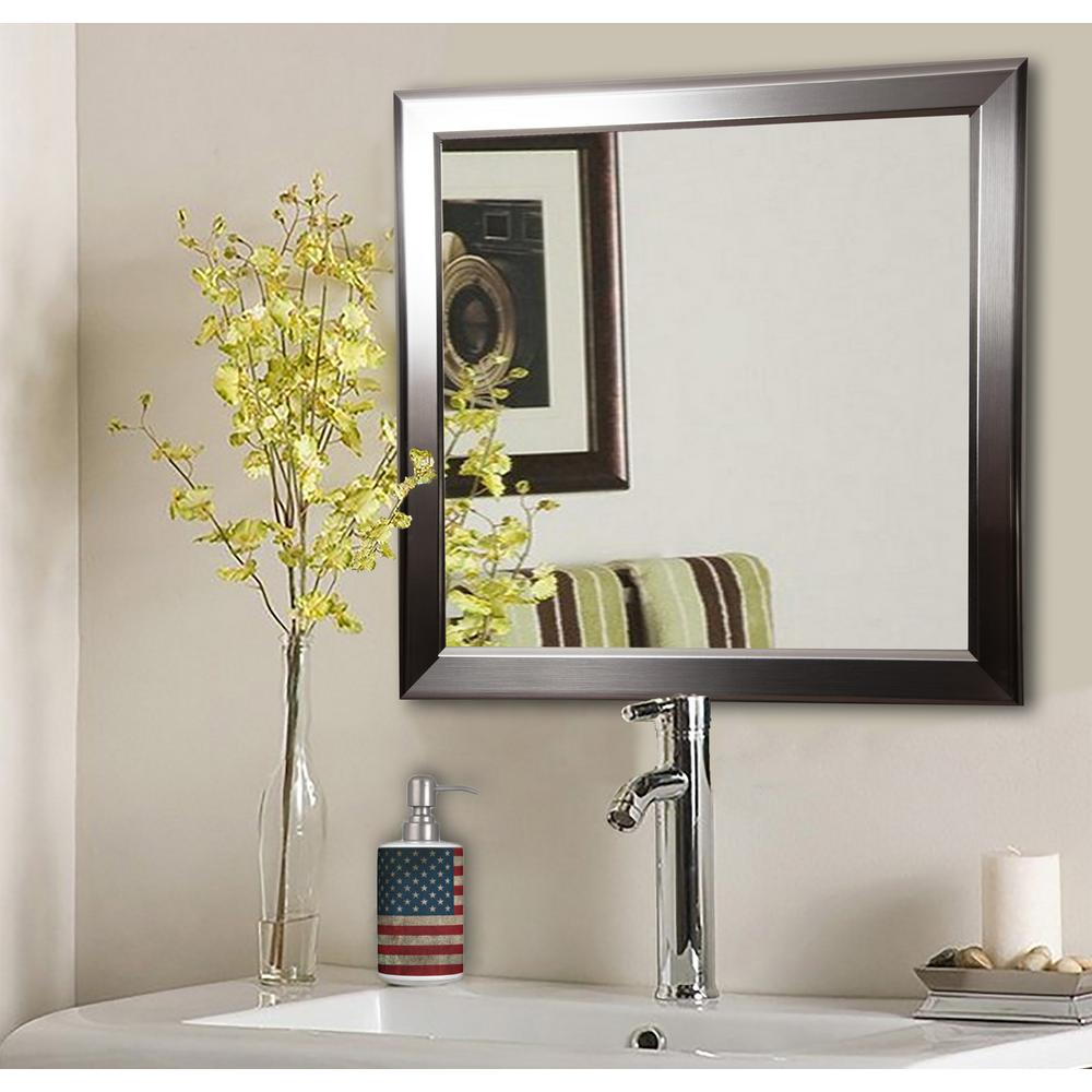 Silver Rounded Square Decorative Wall Mirrors Set Of