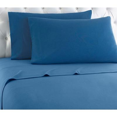 Twin XL 3-Piece Smokey Mountain Blue solid Sheet set