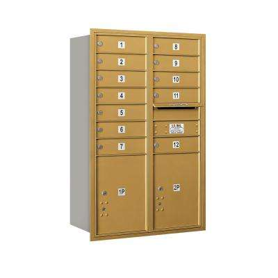 3700 Horizontal Series 12-Compartment with 2-Parcel Locker Recessed Mount Mailbox