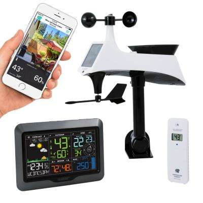 Wi-Fi Enhanced Professional Weather Station with Wind/Rain Sensor and Mobile App for Remote Monitoring