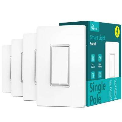 2.4 GHz Single Pole Push Button Smart Wi-Fi Light Switch, White (4-Pack)