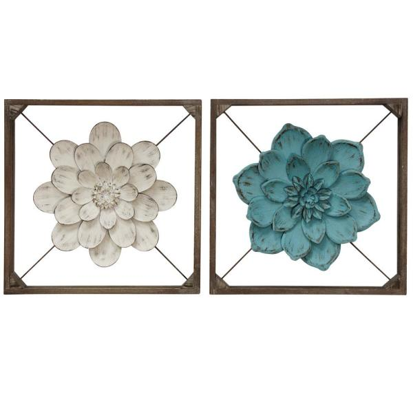 Transitional Weathered Off White, Blue, Brown Metal, Wood Wall Sculpture (2-Pack)