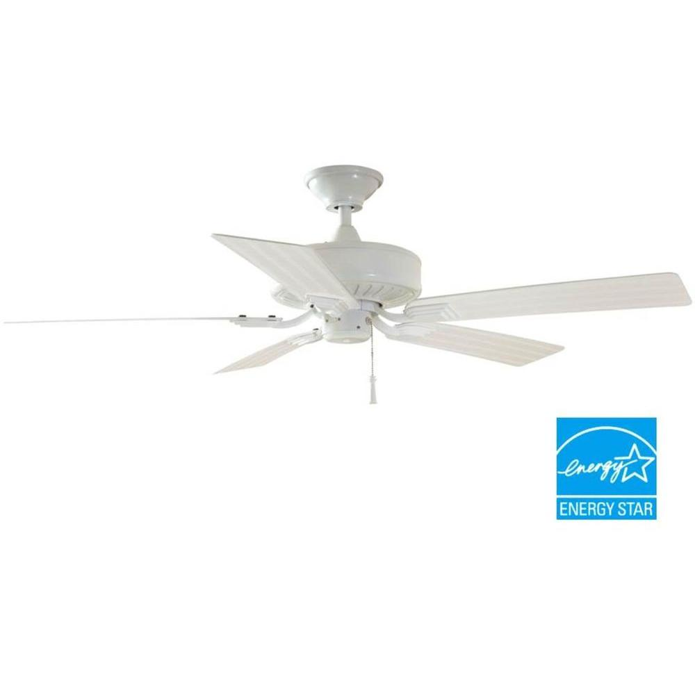 Hampton Bay Barrow Island 52 in. Indoor/Outdoor White Ceiling Fan ...