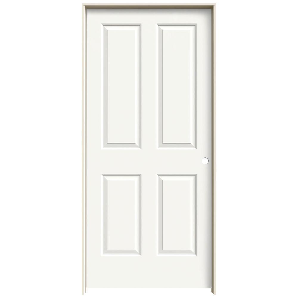 Jeld Wen 36 In X 80 In Coventry White Painted Left Hand Smooth Molded Composite Mdf Single