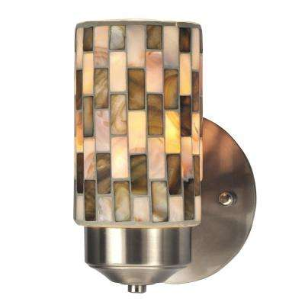 Kalmia 1-Light Brushed Nickel Mosaic Wall Sconce
