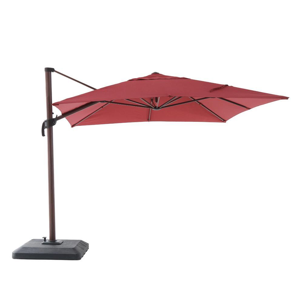 10 ft. x 12 ft. Aluminum Rectangle Offset Patio Umbrella in Chili