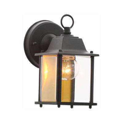 1-Light Black Outdoor Wall Lantern Sconce