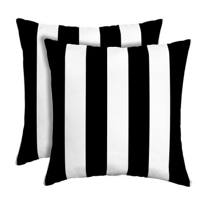 16 in. x 16 in. Black Cabana Stripe Outdoor Square Pillow (2-Pack)