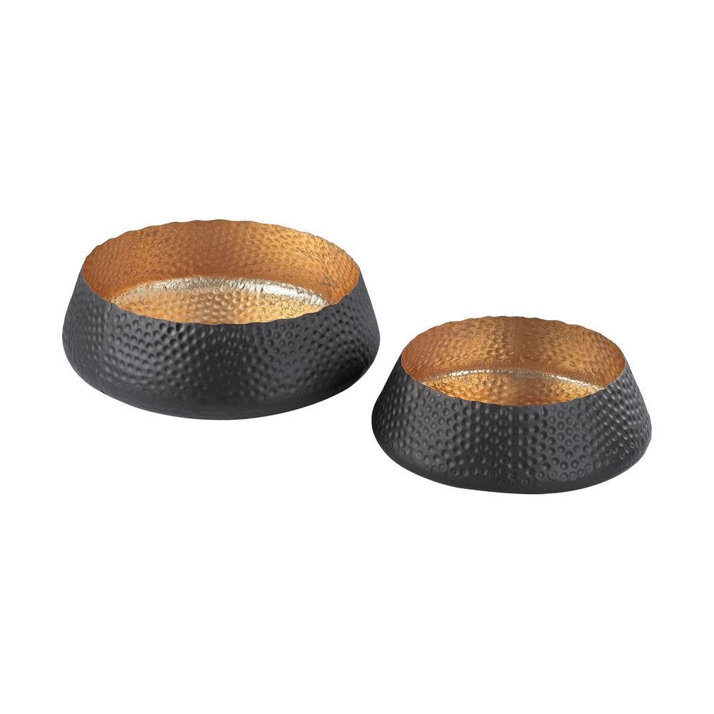 Hammered Metal Decorative Bowls in Dark Bronze And Gold Leaf (Set of 2)