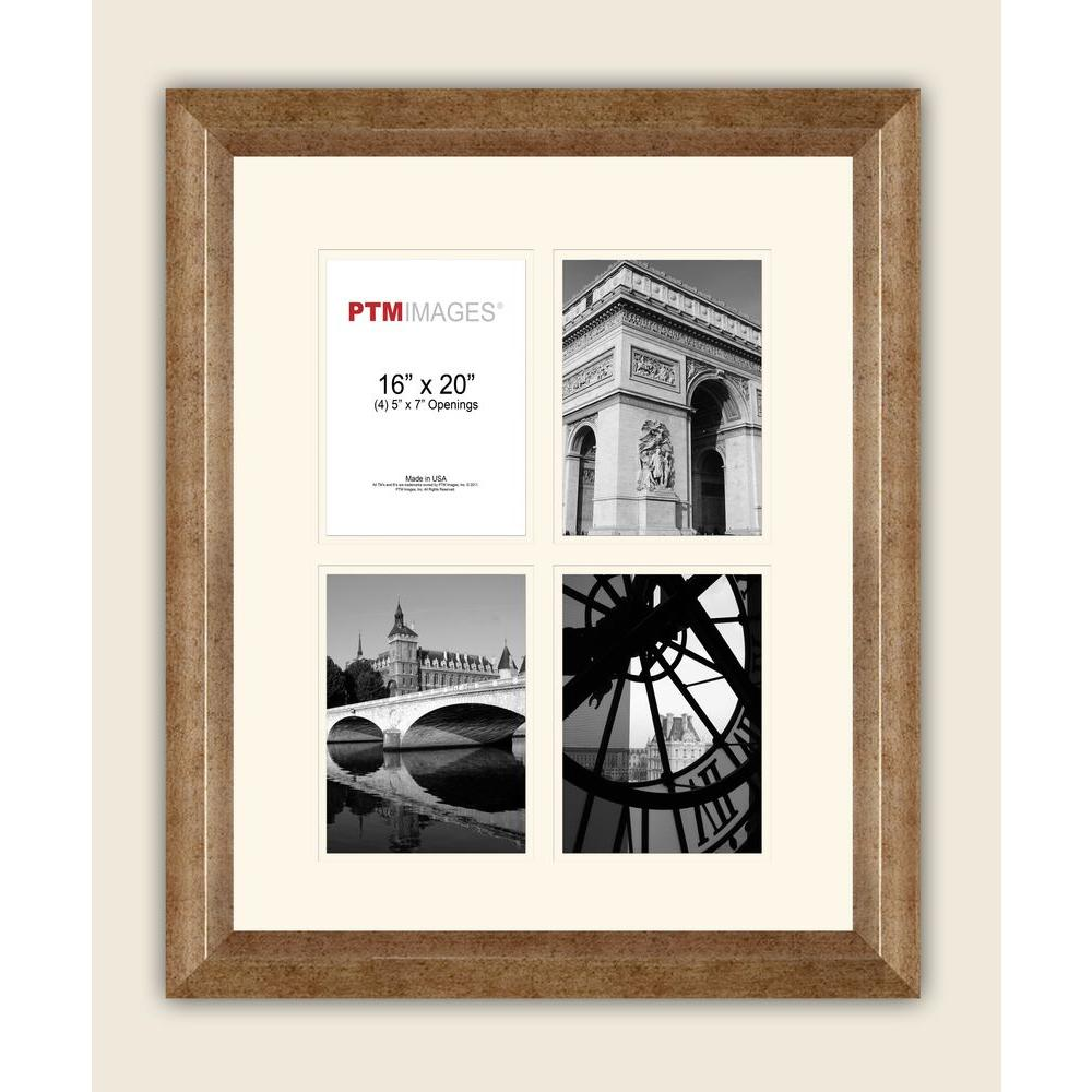 PTM Images 4-Opening 5 in. x 7 in. White Matted Champagne Photo Collage Frame