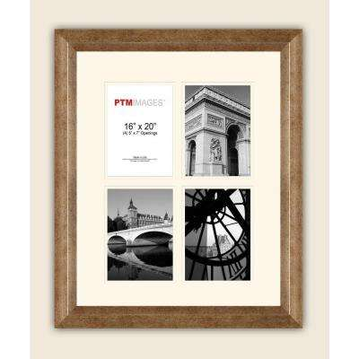4-Opening 5 in. x 7 in. White Matted Champagne Photo Collage Frame