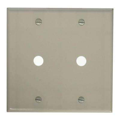 2-Gang Standard Size Two 0.406 in. Dia Phone/Cable Openings Plastic Box Mount Wall Plate in White