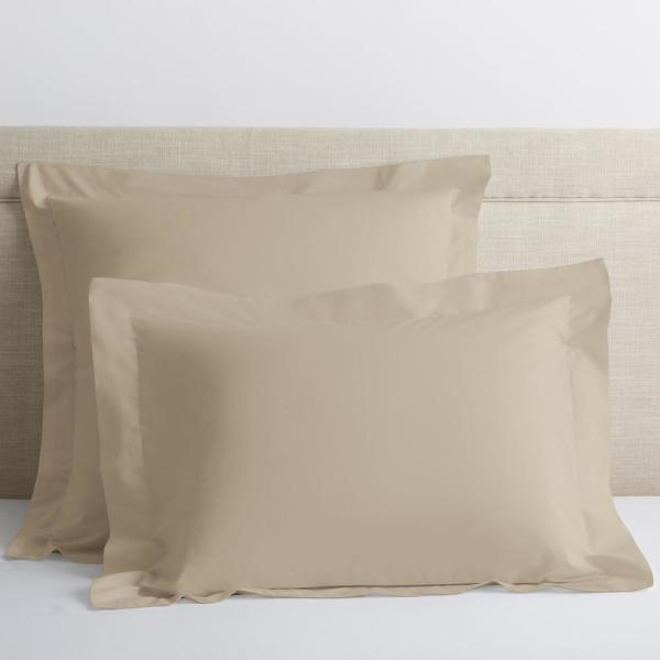 Organic Oat Solid 300-Thread Count Cotton Percale King Sham