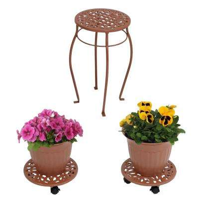 Bronze 5-Piece Cast Iron Planter, Caddy and Plant Stand Set