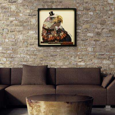 """25 in. x 25 in. """"American Eagle"""" Dimensional Collage Framed Graphic Art Under Glass Wall Art"""