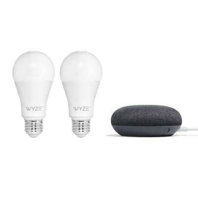Smart Bulb (2-Pack) with Google Mini in Charcoal
