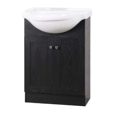 Nori 18 in. D x 24 in. W x 36 in. H Bath Vanity in Black with Ceramic Vanity top in White with White Basin