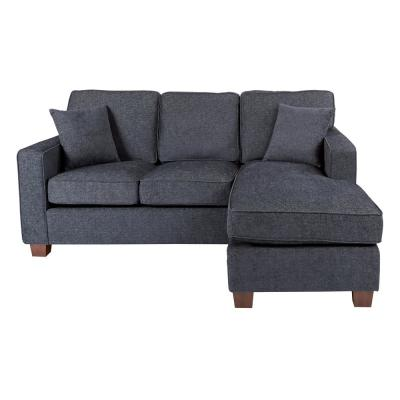 Russell Sectional in Navy Fabric with 2-Pillows and Coffee Legs
