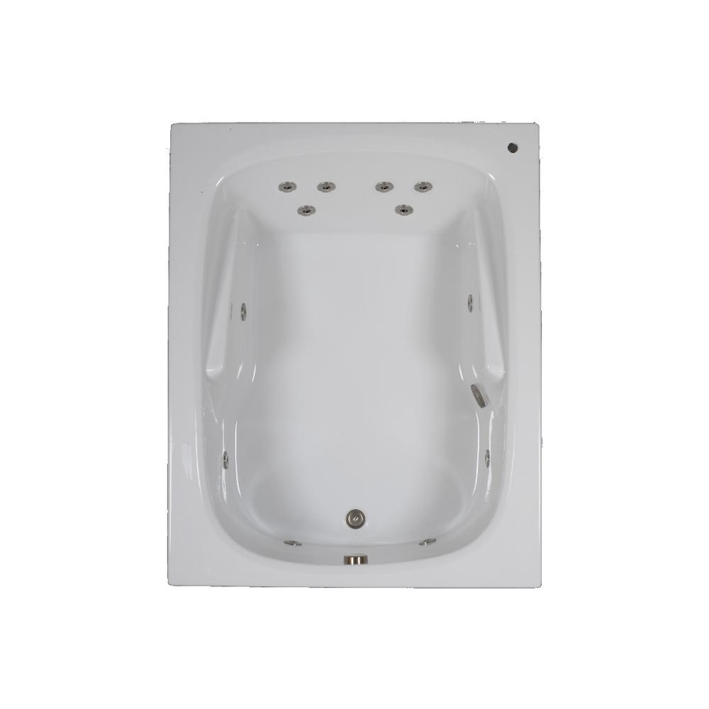 60 in. Rectangular Drop-in Whirlpool Bathtub in White