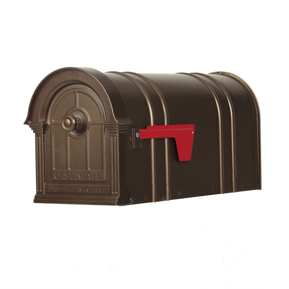 Postal Pro Manchester Bronze Steel And Aluminum Post Mount Mailbox Pp151sbr The Home Depot