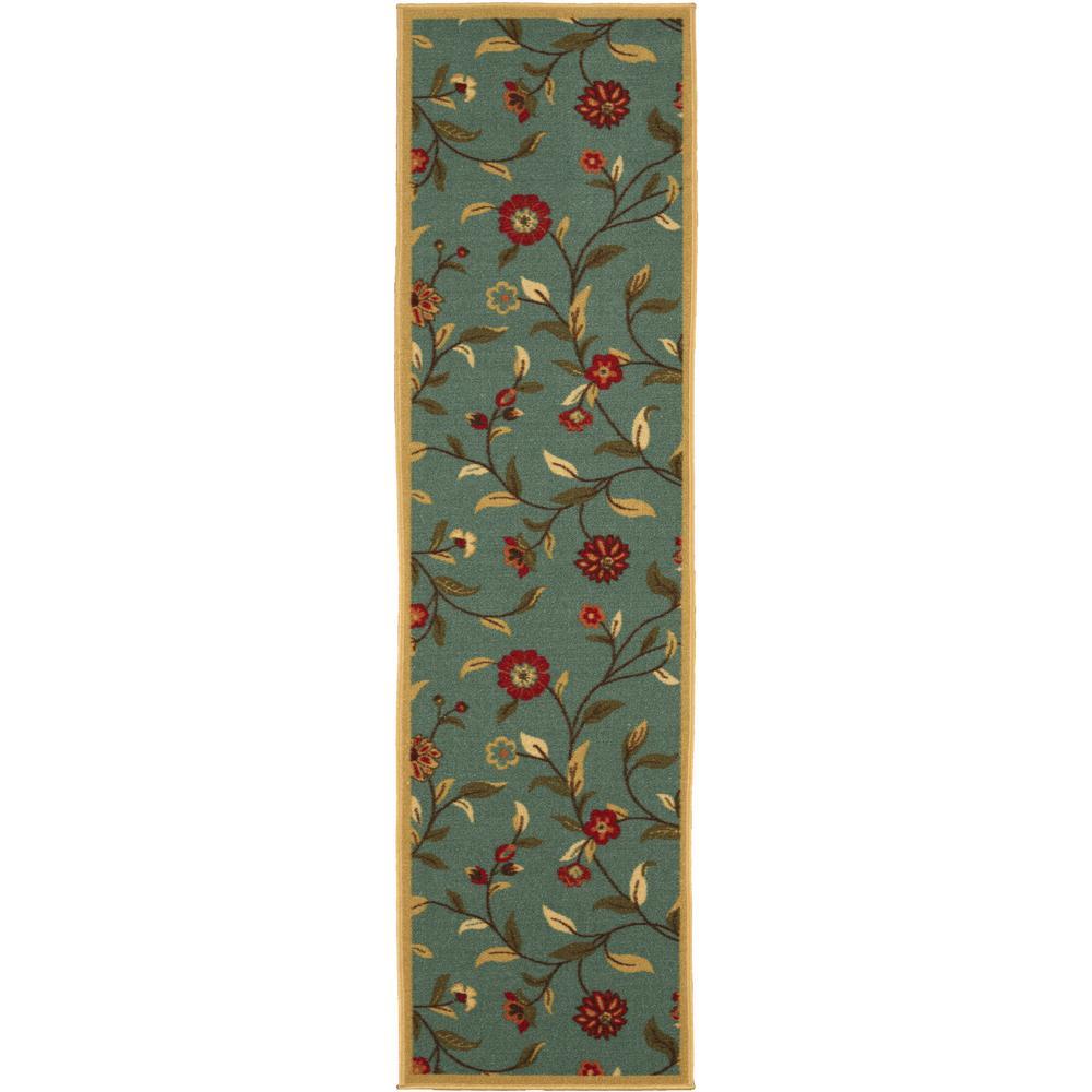 Ottohome Collection Floral Garden Design Sage Green 3 ft. x 10 ft. Non-Skid Runner Rug
