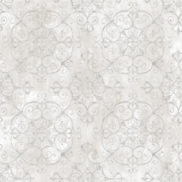 Chesapeake Aubrey Alabaster Crystal Medallion Texture Wallpaper VIR98232