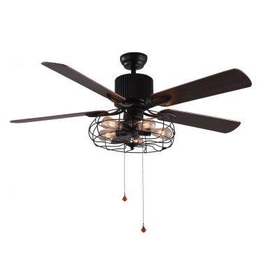 52 in. Black Industrial Ceiling Fan with Light Kit and Remote Control