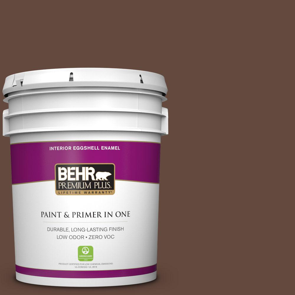 BEHR Premium Plus 5 gal. #760B-7 Revival Mahogany Zero VOC Eggshell Enamel Interior Paint