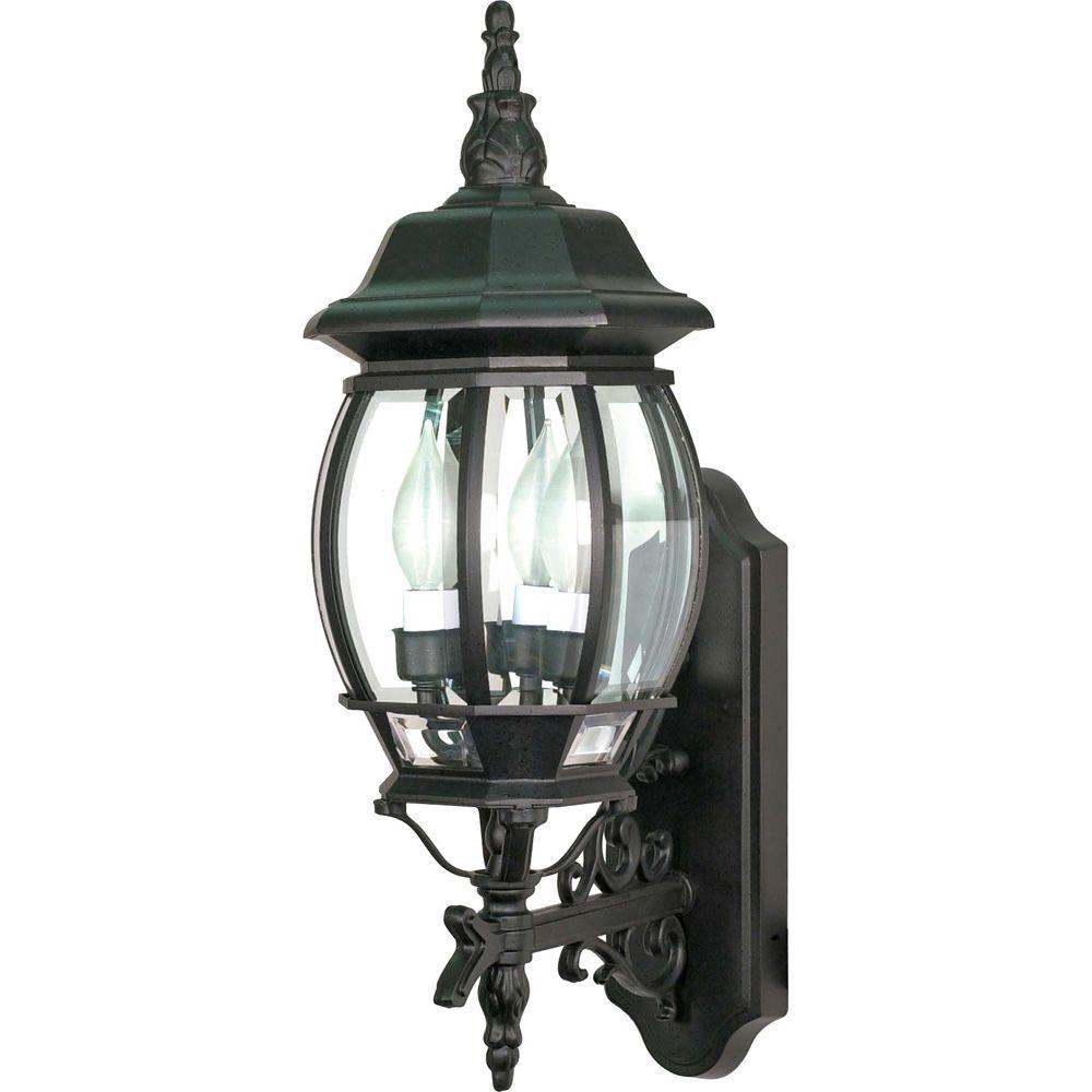 Glomar 3-Light - 22 in. Wall Lantern with Clear Beveled Glass Textured Black