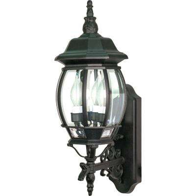 3-Light - 22 in. Wall Lantern with Clear Beveled Glass Textured Black