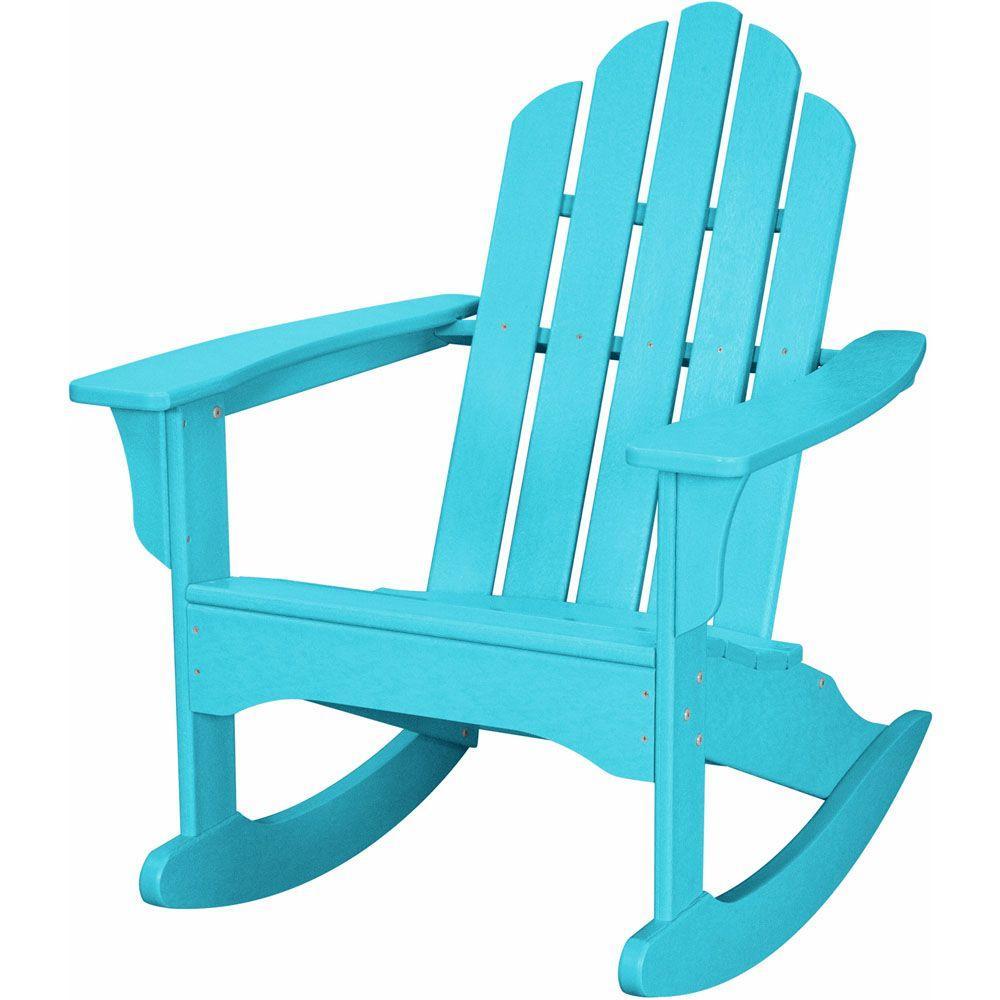 Hanover Aruba All Weather Adirondack Rocking Patio Chair HVLNR10AR   The  Home Depot