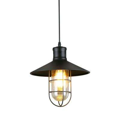 1-Light Black Cage Hanging Pendant Light