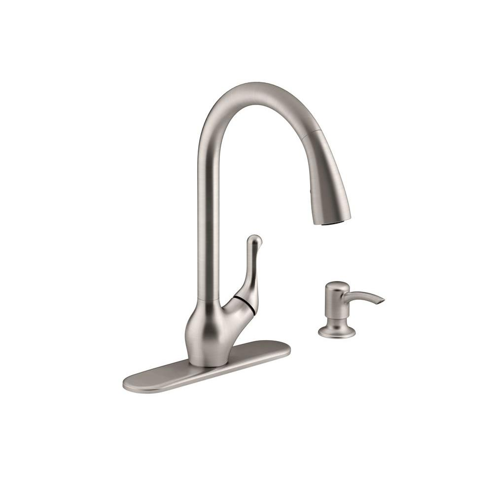 KOHLER Barossa Single-Handle Pull-Down Sprayer Kitchen Faucet with Soap/Lotion Dispenser in Vibrant Stainless