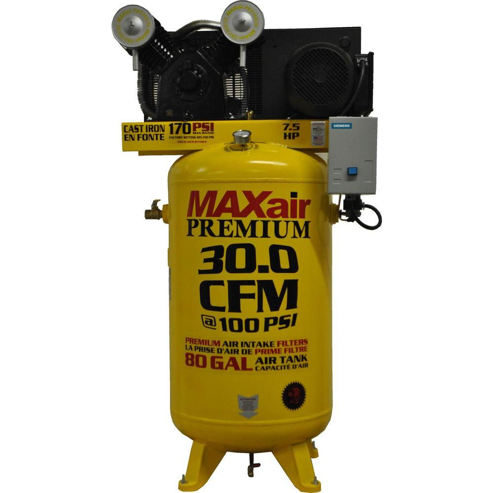 maxair premium industrial 80 gal 7 5 hp 3 phase single stage