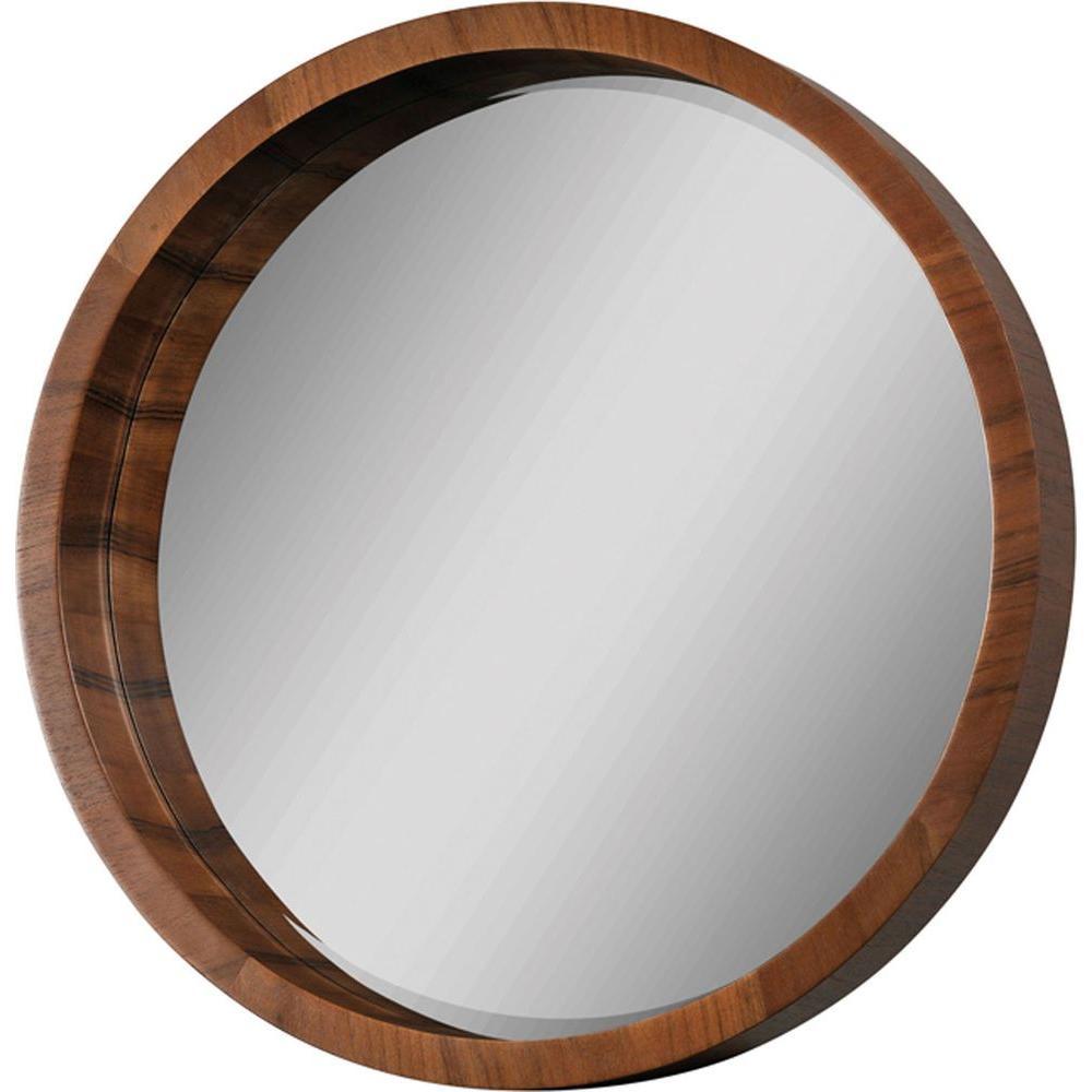 Luna 33 in. x 33 in. Walnut Veneer Mirror
