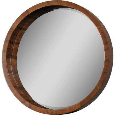 Luna 33 in. x 33 in. Walnut Veneer Mirror