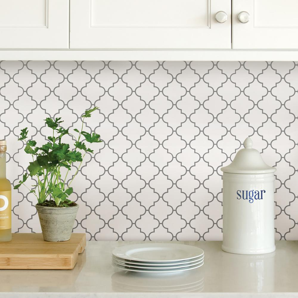 Peel And Stick Backsplash Tiles: WallPOPs White Quatrefoil Peel Stick Backsplash Tiles