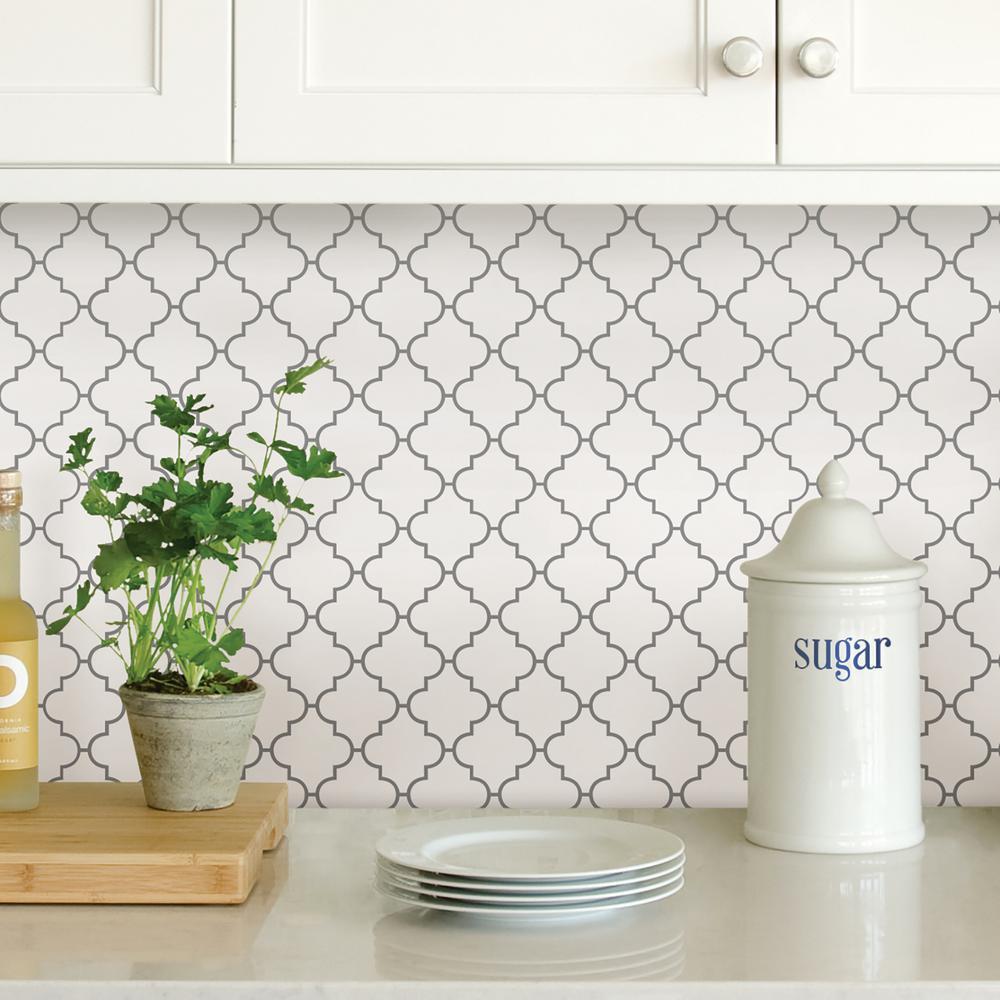 White Quatrefoil Peel Stick Backsplash Tiles