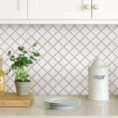 White Quatrefoil Peel Stick Backsplash Tiles