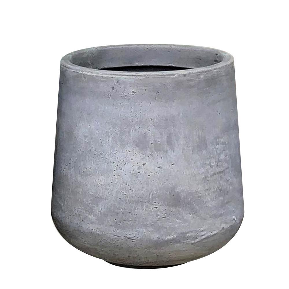 DurX-litecrete Large 16.5 in. x 16.5 in. x 13.4 in. Light Gray Lightweight Concrete Footed Tulip Planter