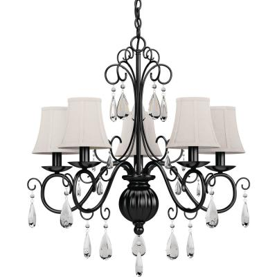 Ava 5-Light Foundry Bronze Indoor Hanging Chandelier with Ivory Fabric Lamp Shades