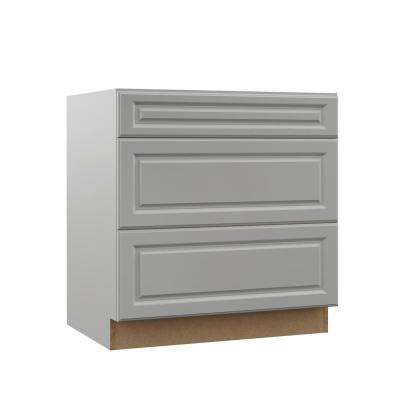Elgin Assembled 33x34.5x23.75 in. Pots and Pans Drawer Base Kitchen Cabinet in Heron Gray
