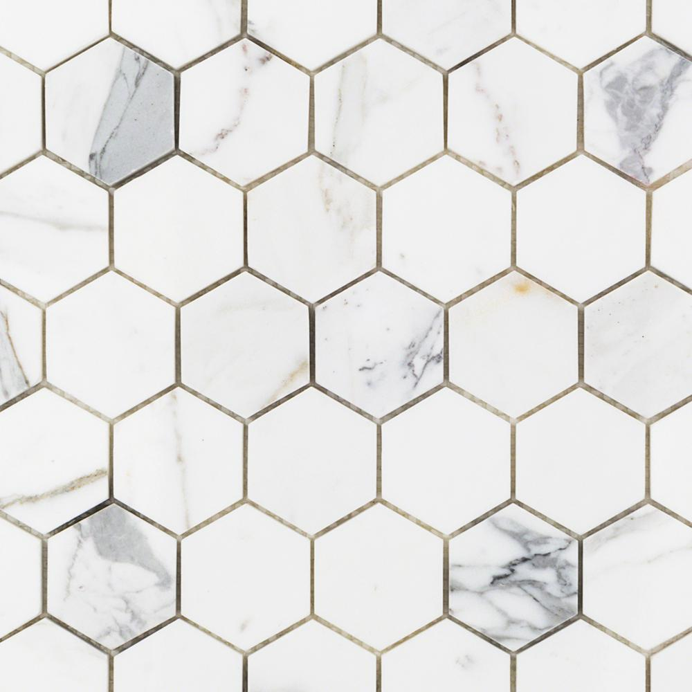 Ivy Hill Tile Hexagon Calacatta 11.75 in. x 12.37 in. x 10 mm Marble Mosaic
