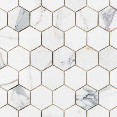 Hexagon Calacatta 11.75 in. x 12.37 in. x 10 mm Marble Mosaic